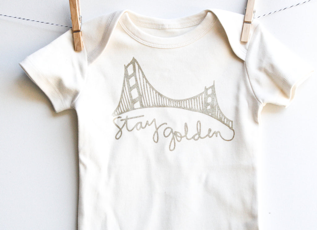 Stay Golden - San Francisco handprinted, organic baby bodysuit