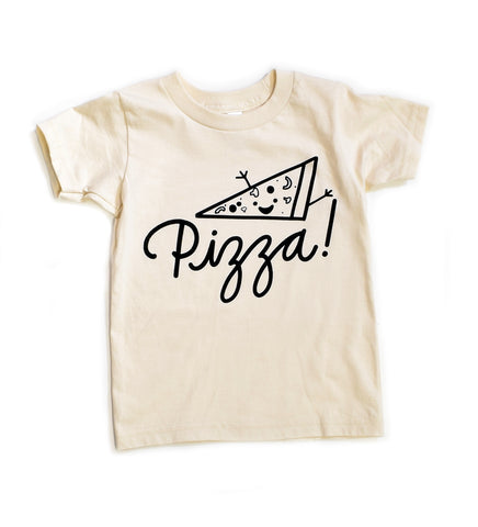 Pizza! - organic, kid's hand printed t-shirt