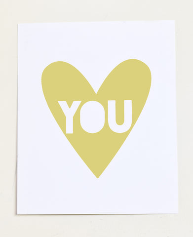 Love You - chartreuse screen print on recycled paper, 11x14