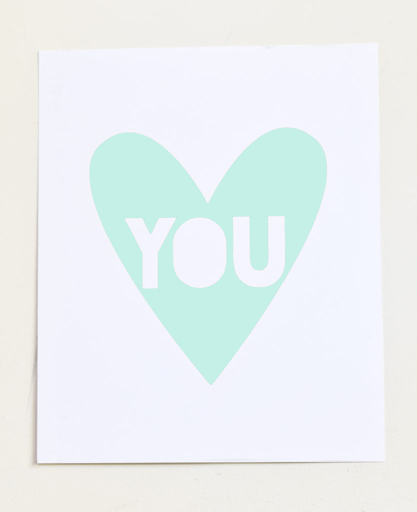 Love You - mint screen print on recycled paper, 11x14