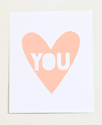 Love You - peach screen print on recycled paper, 11x14
