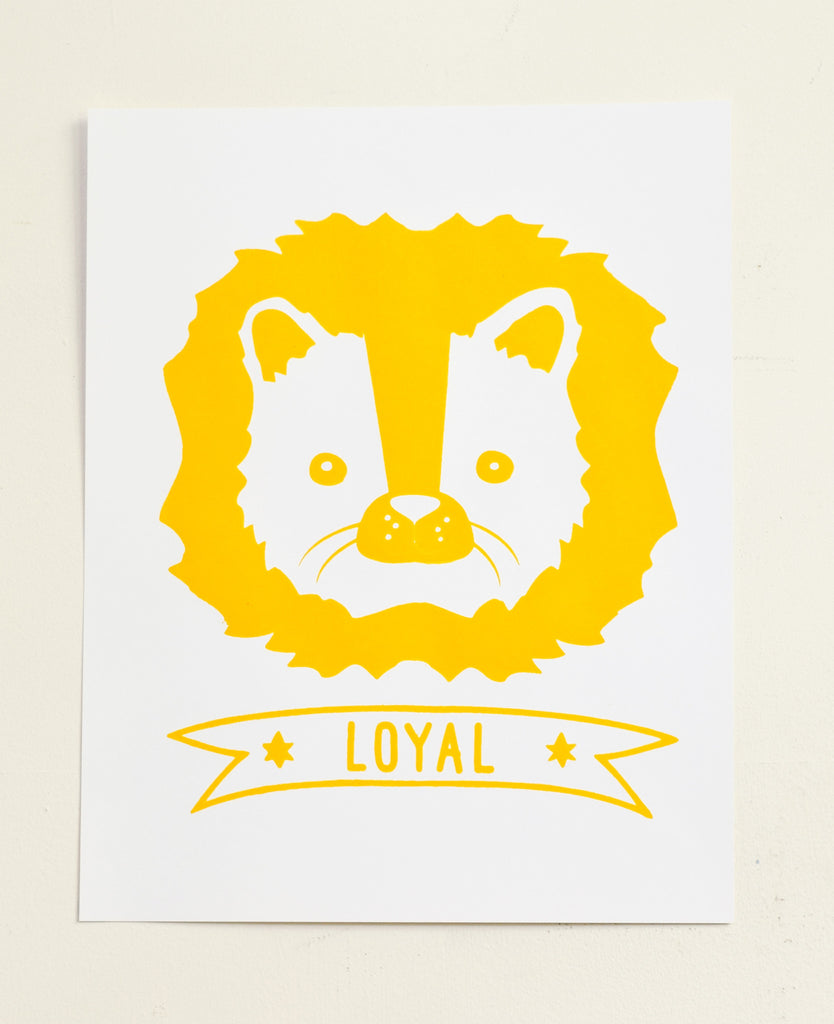 Loyal - lion screen print on recycled paper, 11x14