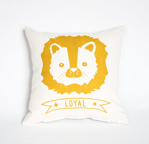 Leo the Loyal Lion - organic, hand printed, pillow 14x14