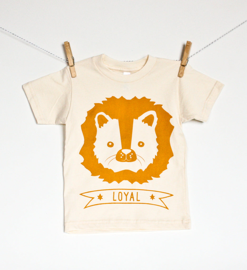 Leo the Loyal Lion - organic, kid's hand printed t-shirt