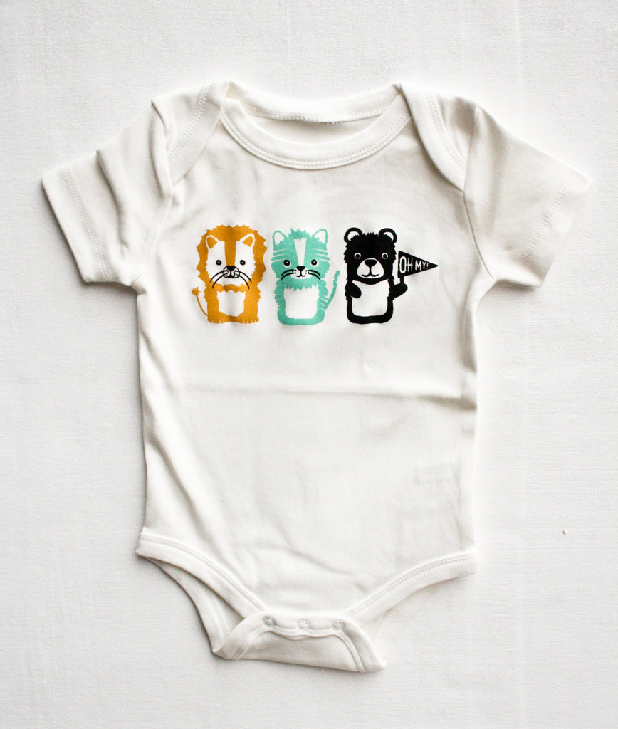 Oh My! - lions and tigers and bears hand printed organic bodysuit