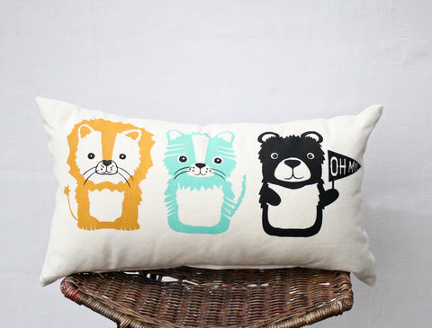 Lions and Tigers and Bears - gender neutral nursery decor, organic hand printed lumbar pillow, Wizard of Oz themed