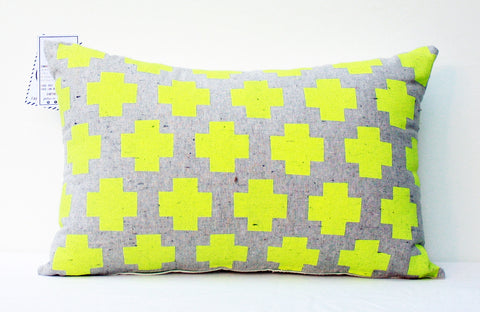 Me Plus You - hand printed, neon yellow grey repeat pattern organic pillow
