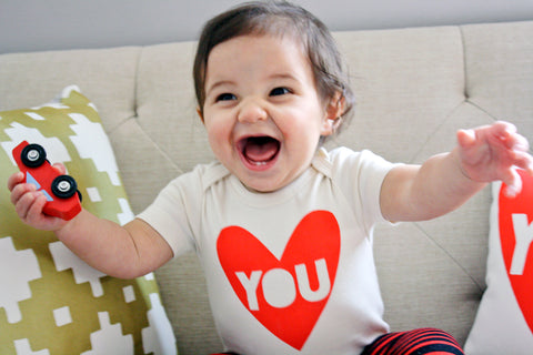 My Funny Valentine - hand printed, heart you, organic baby bodysuit