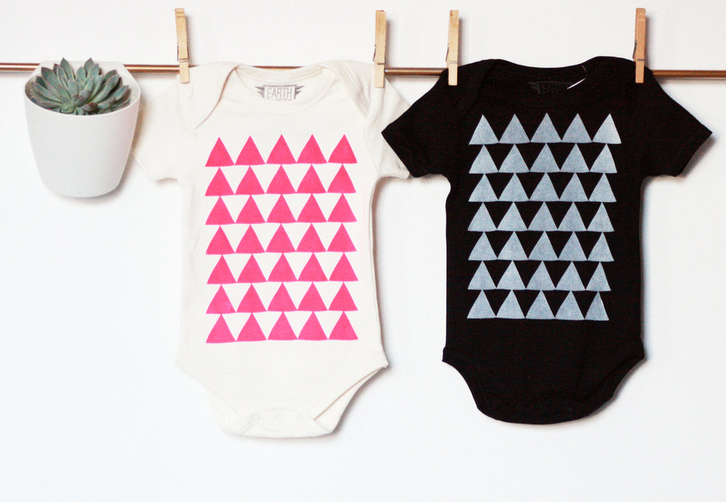 Mountains of Montana - baby's handprinted organic bodysuit
