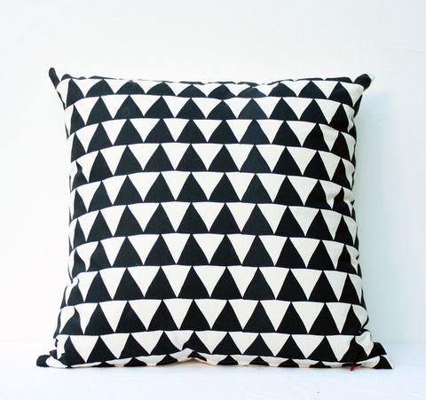 Mountains of Montana - triangle pattern organic screen printed pillow