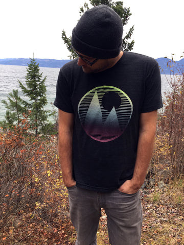 Mountainscape - hand printed unisex t-shirt, crew and v-neck