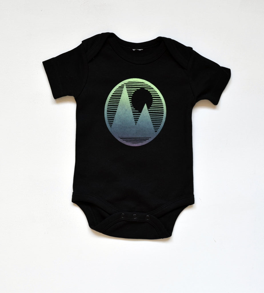 Mountainscape - handprinted, organic baby bodysuit