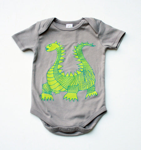 Elliot the Dragon - grey, organic bodysuit