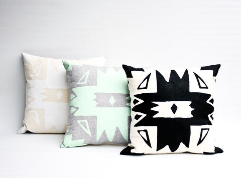 Pinnacle - organic, hand screenprinted pillow