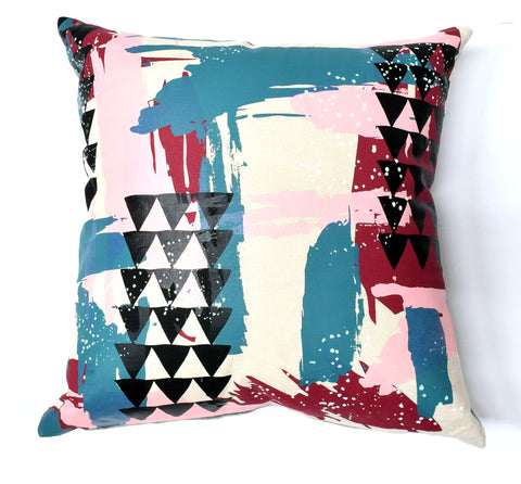 Painterly - organic, hand printed pillow, black