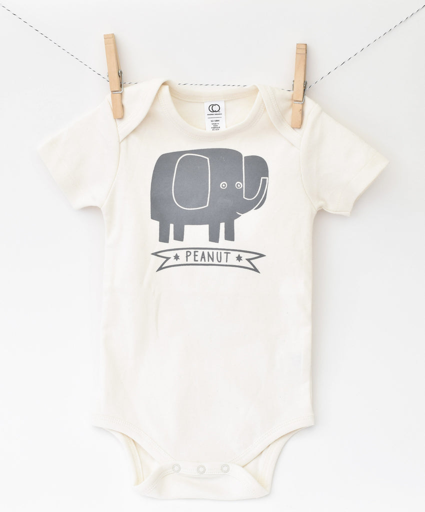 Peanut - hand printed, organic, elephant baby bodysuit - gender neutral elephant gift for baby