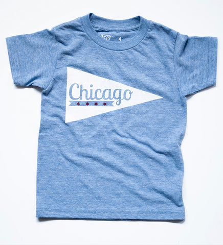 Chicago Pennant - kid's hand printed t-shirt