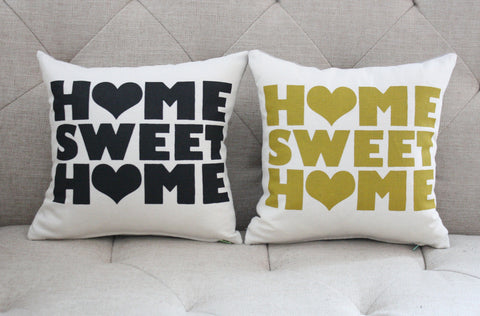 "Home Sweet Home - screen printed housewarming organic pillow, 12""x12"""