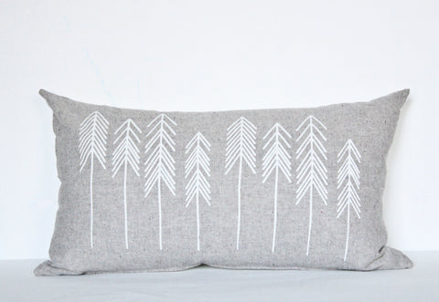 For You I Pine - organic, white and grey hand printed pine tree pattern pillow