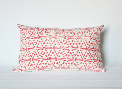 Tri Tri Again - mid century, triangle pattern, organic screenprinted pillow