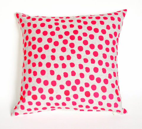 Polka Dot - hot pink + grey - pillow case