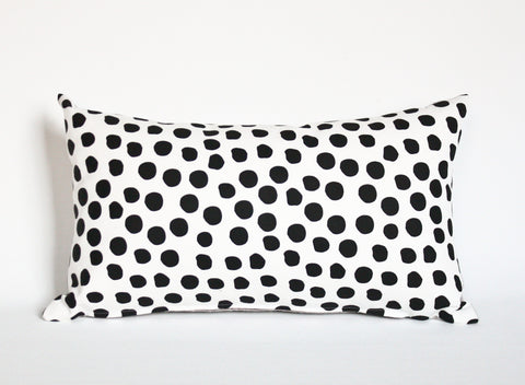 Polka Dot - 12x20, lumbar black and white, hand printed, repeat pattern organic pillow