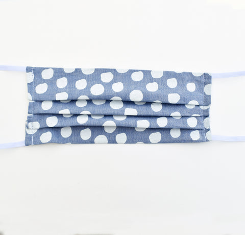 Adult Mask - Chambray Polka Dots, elastic