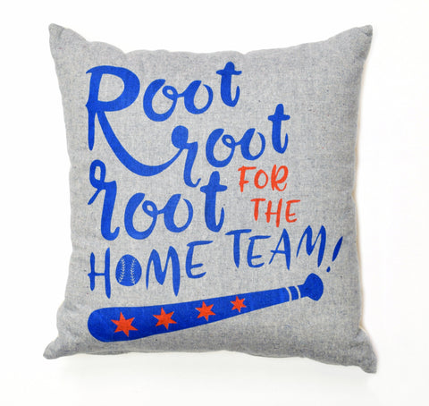 Root For The Home Team - organic, hand printed pillow