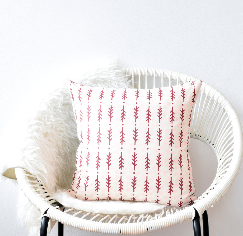 Polk Dots + Rosemary - cranberry and pink - pillow case