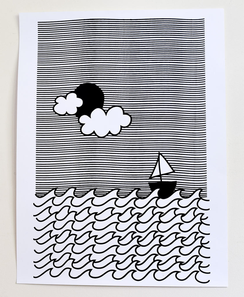 I'm on a Boat - black and white screen print, recycled paper, 18x24