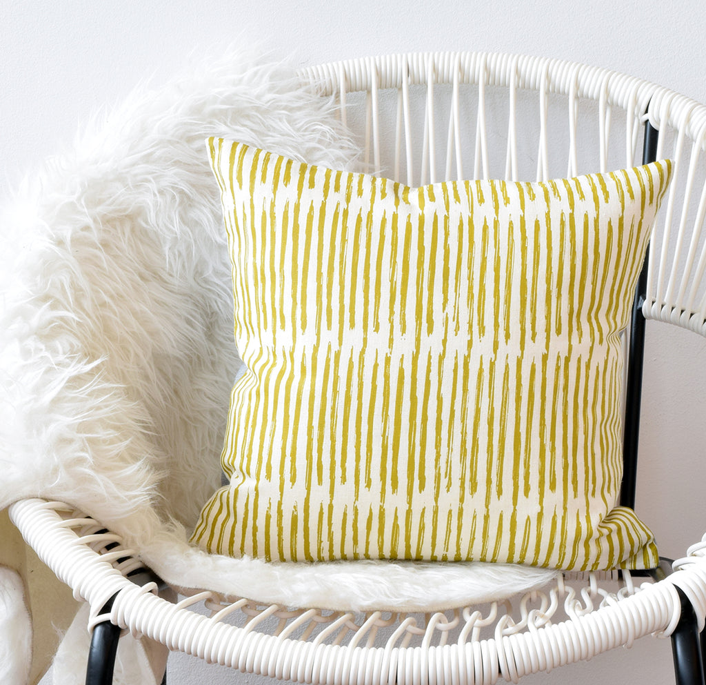 Scribble - chartreuse - pillow case