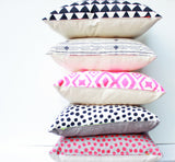 Polka Dot - hand printed, repeat pattern organic pillow