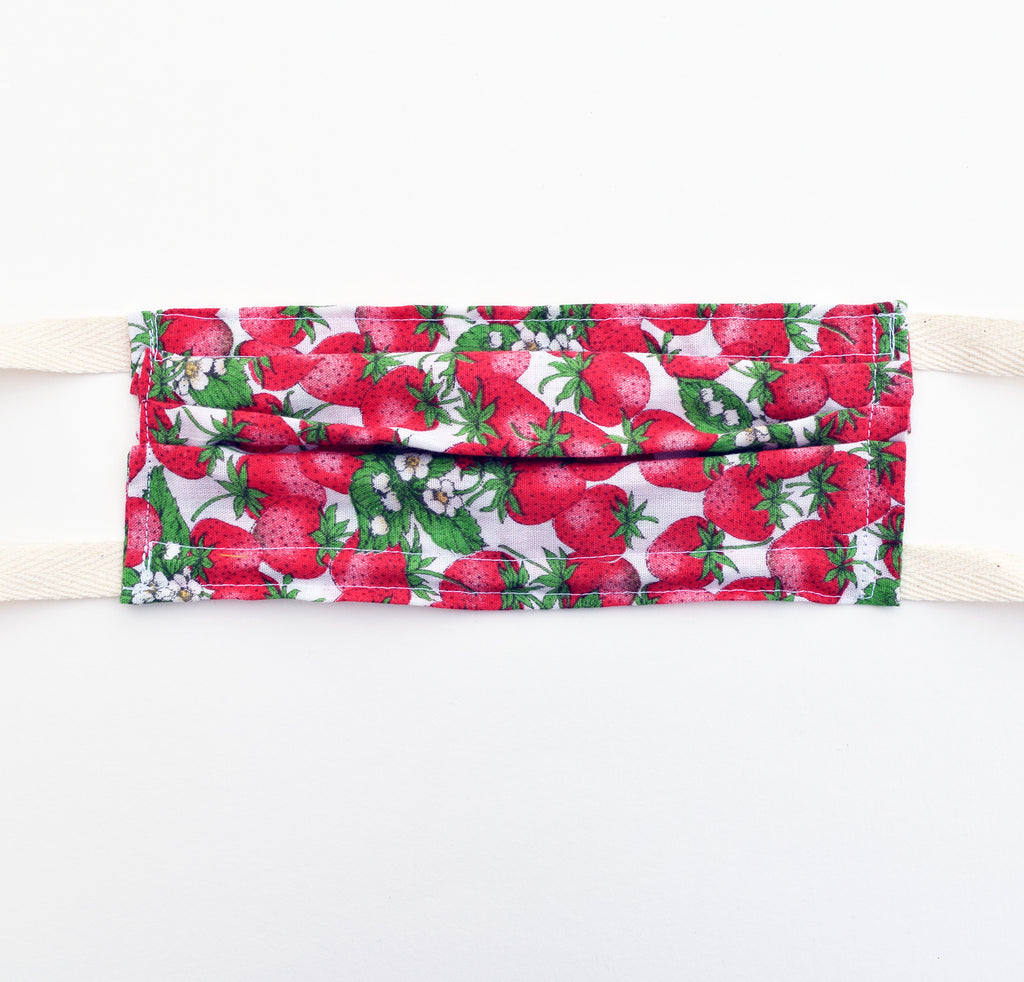 Kid Mask - Vintage Strawberries, twill ties