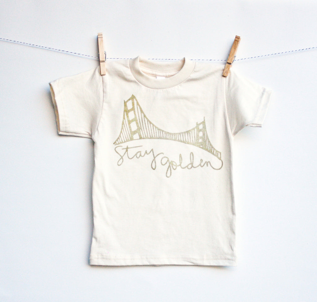 Stay Golden - kid's San Francisco, organic, hand printed t-shirt