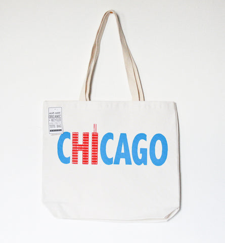 Hi from Chicago - screenprinted recycled grocery, shopping, everyday tote