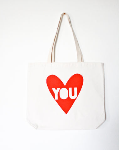 Love You - screenprinted recycled grocery, shopping, everyday tote