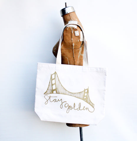 Stay Golden - San Francisco hand printed recycled grocery, shopping, everyday tote