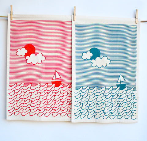 I'm on a Boat - hand printed sailing, decorative kitchen towel