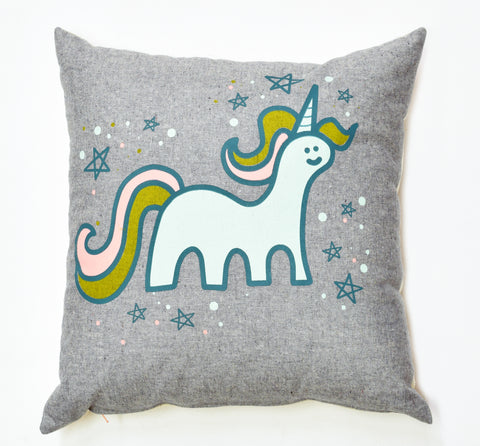 Magical Unicorn- organic, hand printed pillow