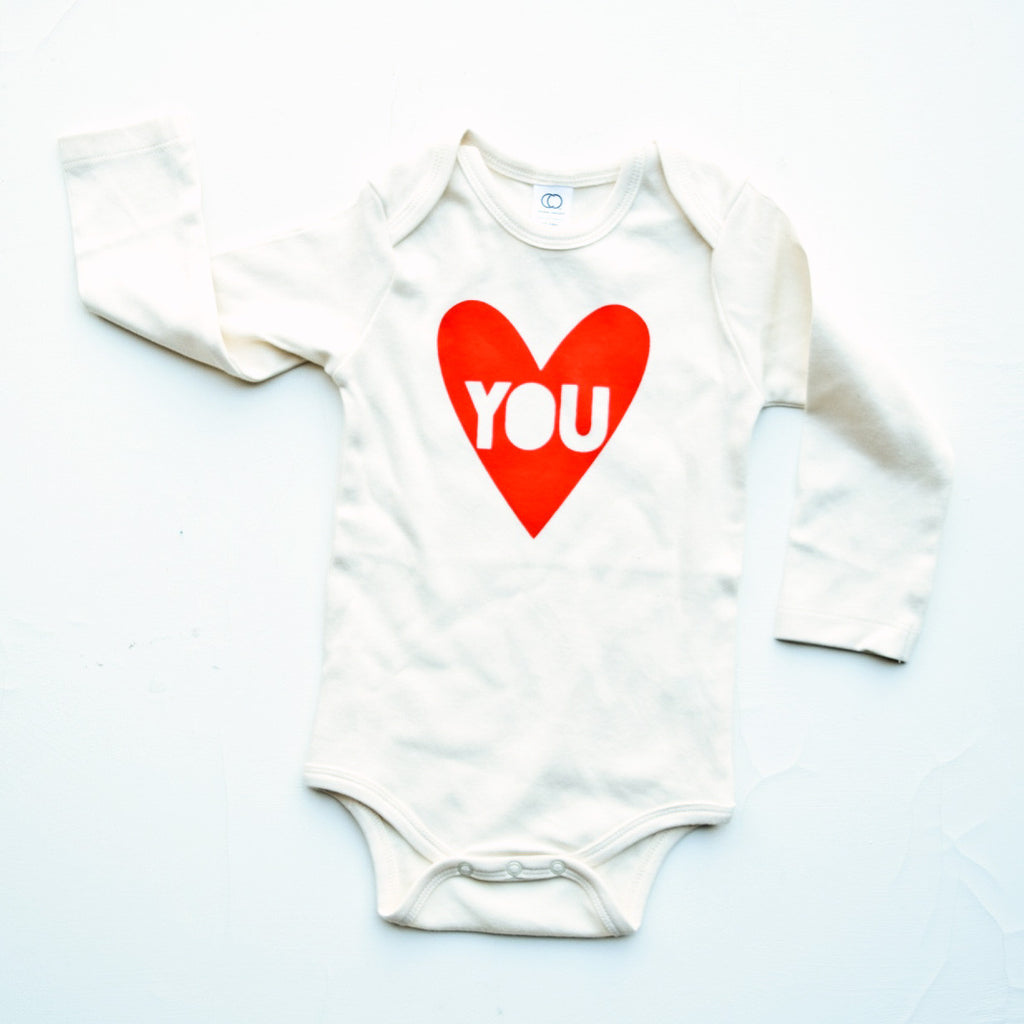 My Funny Valentine - long sleeve - hand printed, organic baby bodysuit