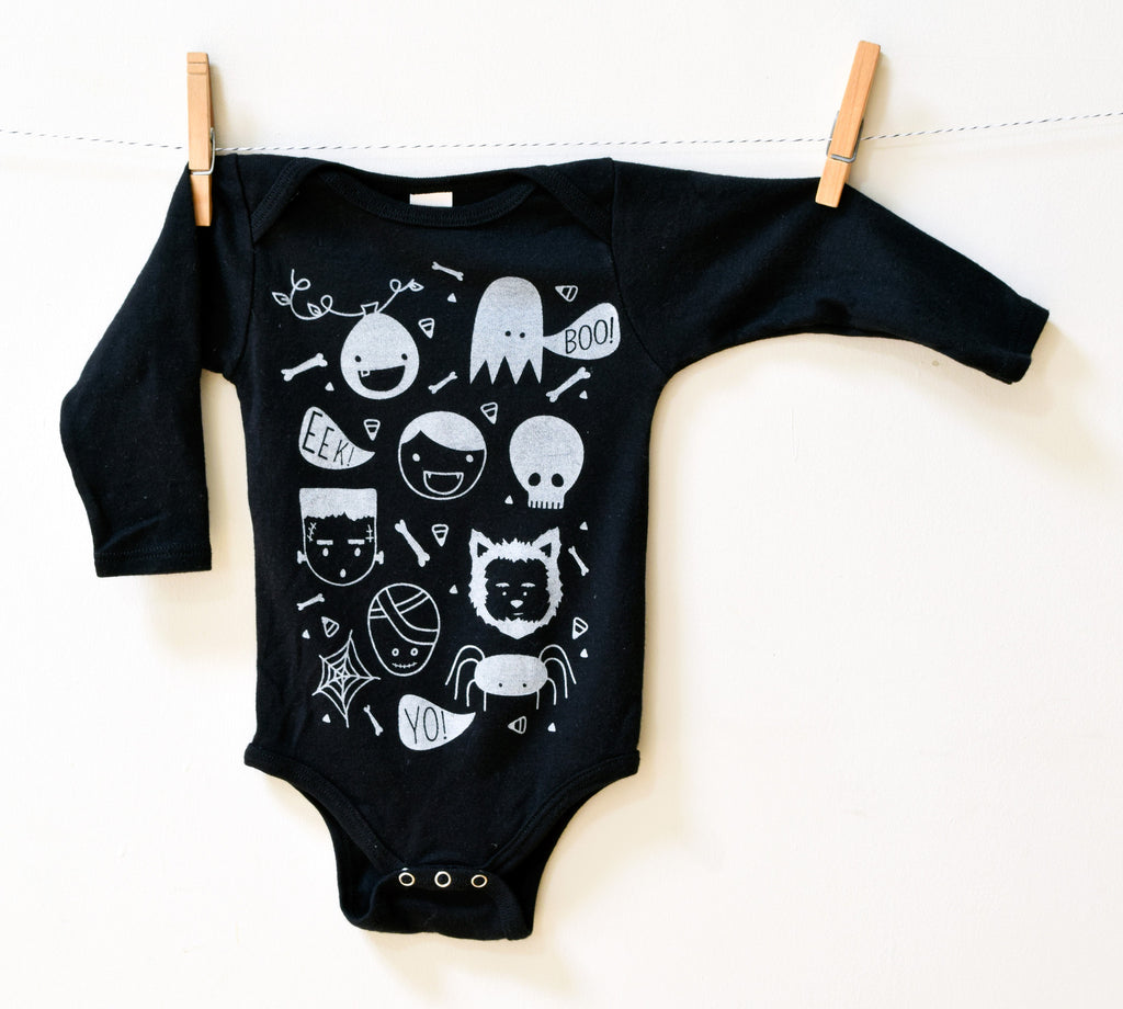 Boo Squad - organic, hand printed, glow in the dark, bodysuit