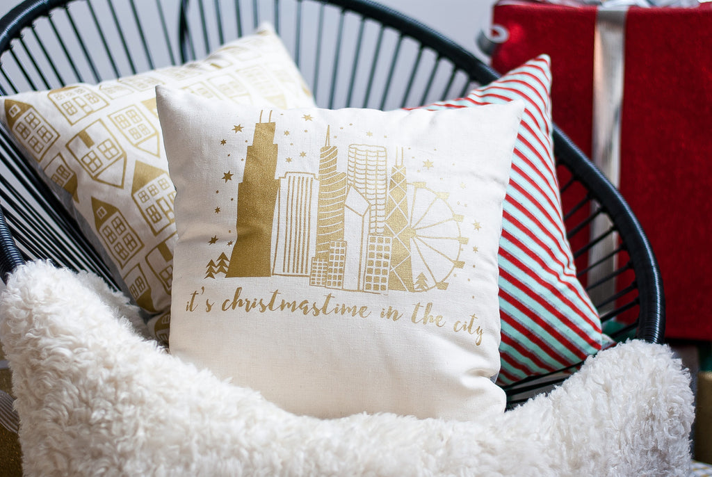 Christmastime in the City - Chicago holiday pillow, gold