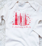 Christmastime in the City - hand printed, organic, long sleeve winter bodysuit