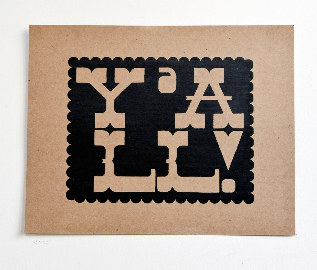 Y'all - black screen print on recycled kraft, 11x14