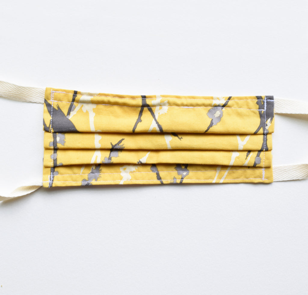 Adult Mask - Yellow Branches, twill ties