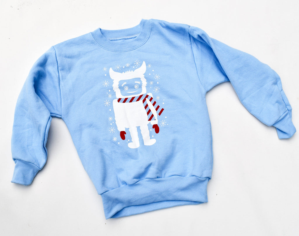 Yeti - kids eco sweatshirt, light blue