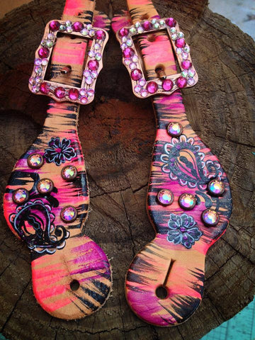 Youth Paisley spur straps with bling