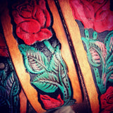 Rose hand painted belt