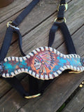 Laced Bronc halter with Indian skull design