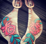 Rose Painted Spur Straps
